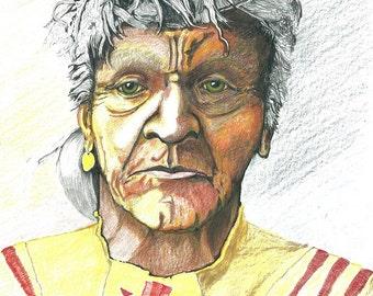 Native American  -  Atsine Warrior -    Fine Art Print - Original Colored Pencil Drawing - 11 x14