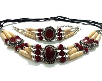 Handmade Traditional Native Tribal Buffalo Bone Hairpipe Choker Necklace and Bracelet Set