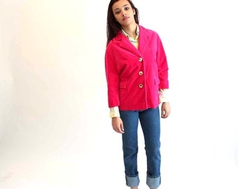 SALE pink jacket . 1960s vintage velveteen jacket - magenta pink jacket w/ gold buttons - 3/4 sleeve jacket by Lydia . medium large