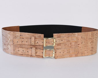 "3"" Wide Belt with Brass Buckles made with Cork Material"