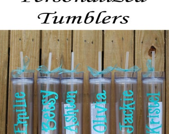 Bridesmaid Tumblers, Wedding Tumblers, Set of 4 Personalized Tumbler, Bridesmaids Gift, Bachelorette Party, Bridesmaid Glass