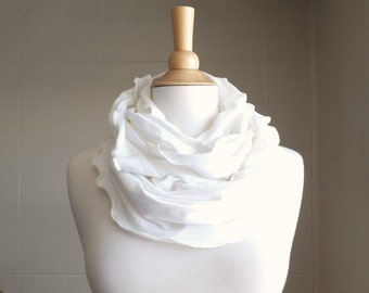 Infinity Scarf Cream Off White Cotton Jersey Ruffle Scarf, fall fashion accessory spring accessories circle scarf winter white gift for her