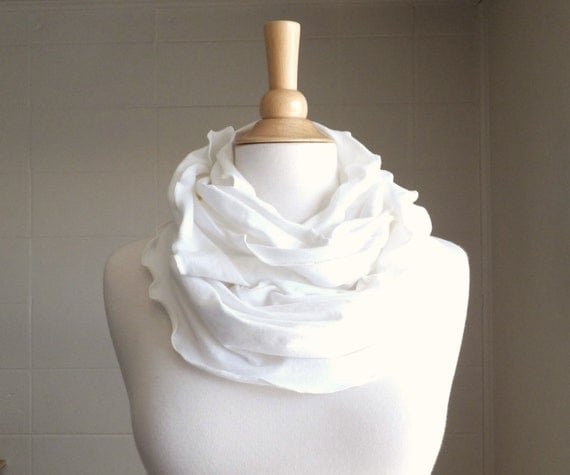 Infinity Scarf Cream Off White Cotton Jersey Ruffle Scarf, fashion accessory winter accessories circle scarf winter white