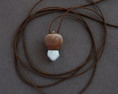 tiny treasure - pendant necklace with willow catkin - natural jewelry - eco friendly - delicate - earthy