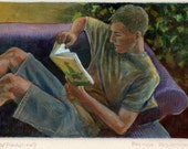 Young Man Reading Books B...