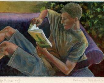 Young Man Reading Books Boy Interior Original Art Monotype Printmaking Wistful Portrait Belinda DelPesco