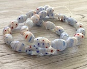 Millefiori Glass Beads oblong strand of 30 red white and blue beads