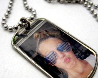 Custom FULL SIZE photo dog tag full photo charm pendant necklace or keychain Great Father's Day Gift dogtag keyring miltary charm