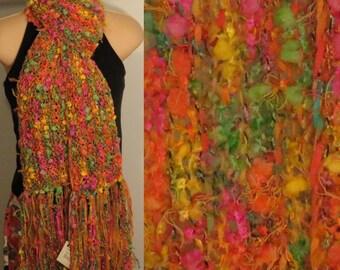 Hand Knit Gypsy Scarf Tropical Fruit yellow pink green orange blue