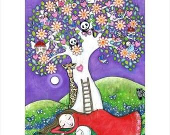 Dream Tree folk art A3 Print painting womens wall art tree princess panda bear owl nursery decor whimsical kids room picture fairy painting