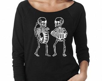 Womens Skull sweatshirt Skeleton print off shoulder Skulls gifts shirt screen printed fall musician gifts shirts warm and cozy clothing