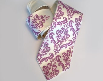 Damask necktie. Radiant Orchid silkscreened men's wedding tie. Your choice of cream tie fabric and more. Skinny size through XL microfiber.