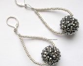 Statement silver gray fashion drop dangle earrings