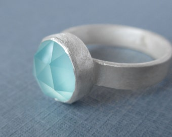 LIMITED EDITION ~ Birthday Ring!  Aqua Blue/Green Chalcedony Ring.  Rose Cut.  Sterling Silver and Fine Silver.  Statement Ring.