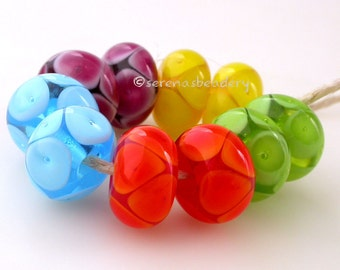 NEON BUBBLE Pair Handmade - Lampwork Glass Beads Buyer's Choice - taneres yellow pink blue orange green