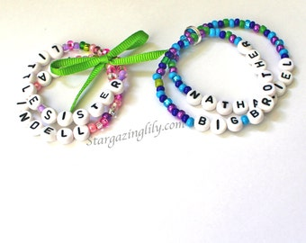 Brother Sister Name Bracelet Personalized Children's Jewelry 1 Set of 2 Big Sister Little Sister Big Brother Littler Brother Hospital Gift