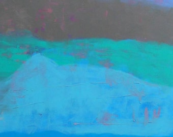 SALE Abstract Painting - Grey Pink Blue - Ed -  24 x 48 Original Art