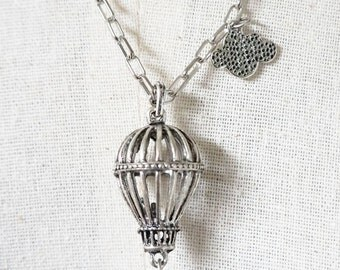 Silver Hot Air Balloon Necklace , Whale Necklace, Art Jewelry , Mixed Media Jewelry
