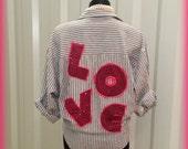 Womens Love Shirt Button Up Shirt Medium Size M Hot Pink Ruffles Striped Shirt Grey and White womens Long Sleeve