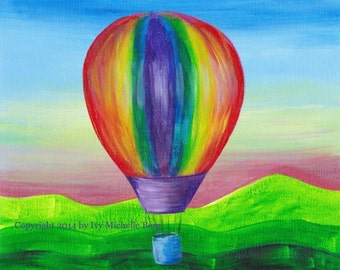Rainbow Hot Air Balloon, Art Print of Acrylic Painting