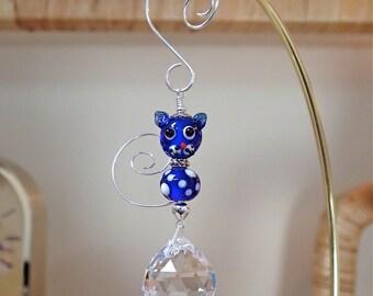 2 Bead Kitty Cat Crystal Suncatcher with Tail Dark Blue
