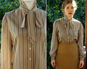 Sonora COUNTRY 1970's Vintage Beige Brown + Teal Striped Pussy Bow Blouse with Ruffled High Collar // by MONIQUE // size Medium