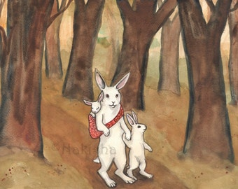 Original Art - Through the Woods - Watercolor Rabbit Painting