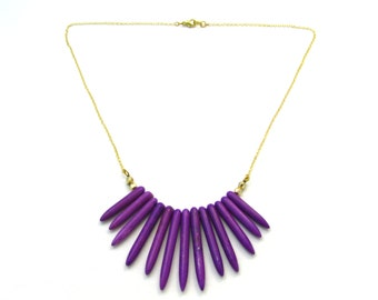 Orchid Purple Howlite Spike Collar Necklace w/ Gold Hardware