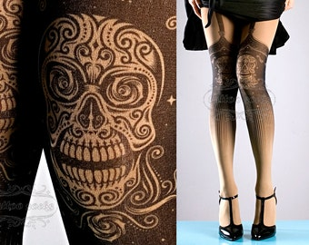 Tattoo Tights, Day of the Dead garters print Nude Color thigh highs illusion one size full length closed toe printed tights pantyhose