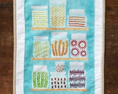 The Mason Jar Embroidery Sampler, Aqua Blue Panel
