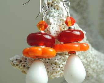 CARIBBEAN Handmade Lampwork Bead Dangle Earrings