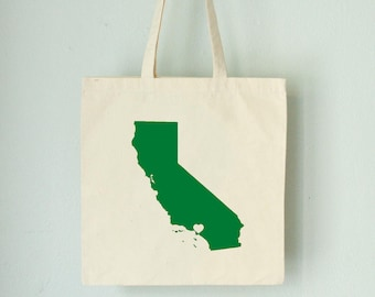 Eco CALIFORNIA LOVE Tote - Los Angeles green state silhouette heart on natural bag