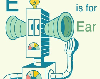 "Robot Alphabet Print - E is for Ear, 8"" x 8"" art print, robot nursery decor, robot wall art, letter E art print, art for child's room"