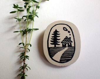Home is where the heart is - wooden brooch  -handprinted