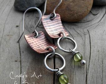 Peridot Earrings Gemstone Gem Stone Hoops Copper Silver Earrings