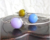Bangles, Fused Glass Bangles, Set of 3 Stacking Bangles in Lavender, Periwinkle and Golden Green