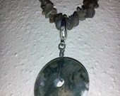 Shades of Green Long Labradorite Necklace w/ Removable Moss Agate Coin Centerpiece