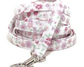 """XS Leash - Soft Purple Floral - 3/8"""" wide - 4 or 6 Feet long for Cats and Small Dogs"""