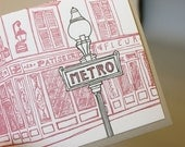 Paris - eight letterpress note cards