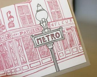 Paris - eight letterpress note cards
