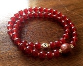 Double HOPE 54 bead Mala Burgundy Prayer Bracelet (7-8 inches) - 100% donation to Cancer research