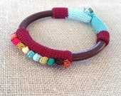 Leather & crochet cotton dots friendship bracelet