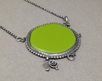 Acid bright green oxidized silver statement necklace everyday repurposed upcycled art jewelry metalsmith jaime jo fisher