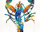 Colorful Lobster Art Print Painting Maine Seafood Beach House Animals Nature CANVAS Ready 2 Hang Large Artwork Primary Colors Rainbow Fish