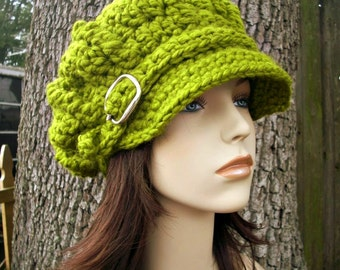Crochet Hat Womens Hat Green Newsboy Hat - Oversized Monarch Ribbed Crochet Newsboy Hat in Lemongrass Green Hat - Womens Accessories