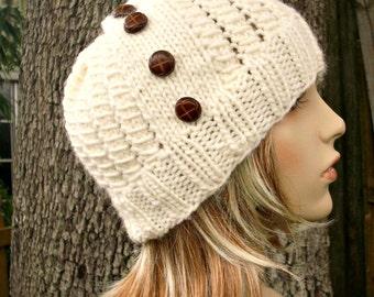 Cream Womens Hat - Polar Vortex Hat - Cream Knit Hat Cream Hat Cream Beanie Womens Accessories - READY TO SHIP