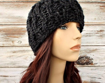 Knit Hat Grey Mens Hat Grey Womens Hat - Amsterdam Cable Beanie Charcoal Grey Knit Hat - Grey Hat Grey Beanie Womens Accessories Winter Hat