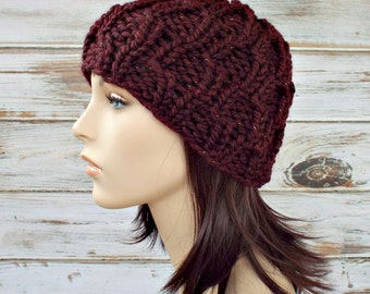 Red Knit Hat Red Womens Hat - Amsterdam Cable Beanie Cabernet Red Oxblood Wine Knit Hat - Red Hat Red Beanie Womens Accessories Winter Hat