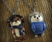 Sherlock and Watson Otter & Hedgehog Best Friends Necklace Set