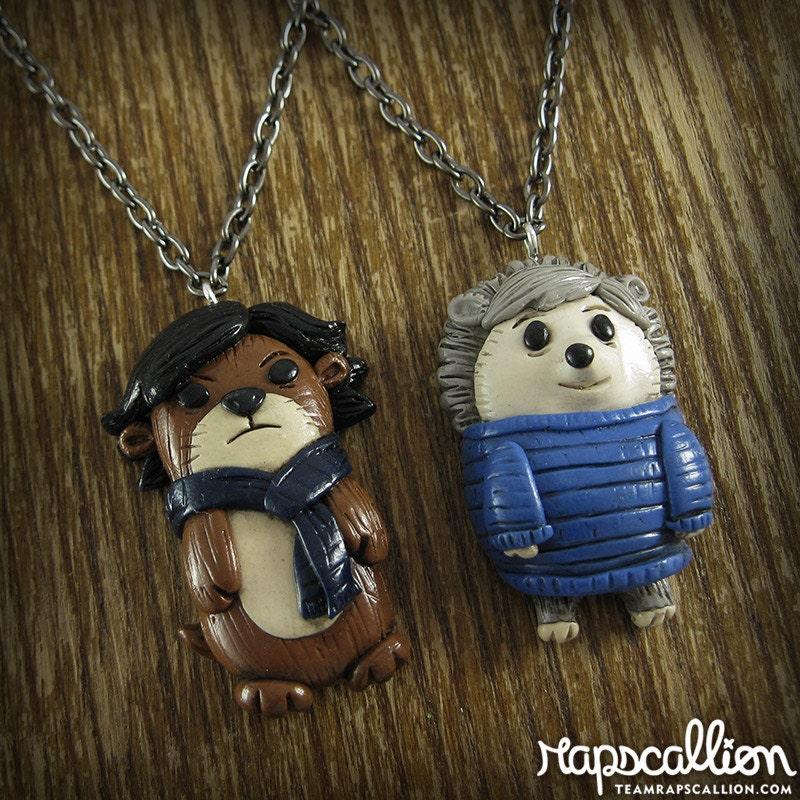 sherlock and watson otter amp hedgehog best friends necklace set